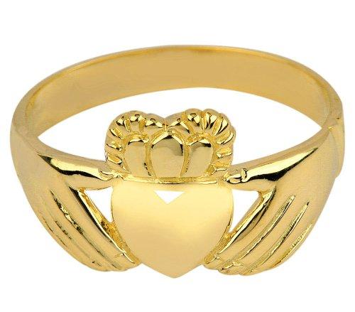 High Polish 14k Yellow Gold Claddagh Ring (Size 6)