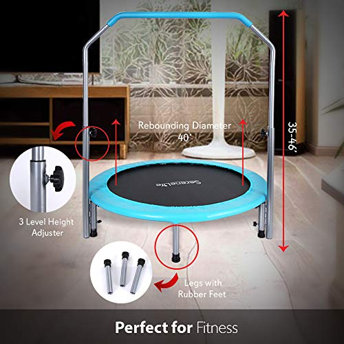 SereneLife Portable Foldable Trampoline – 40 in-Home Mini Rebounder with Adjustable Handrail, Fitness Body Exercise, Springfree Safe for Kids – SLELT403