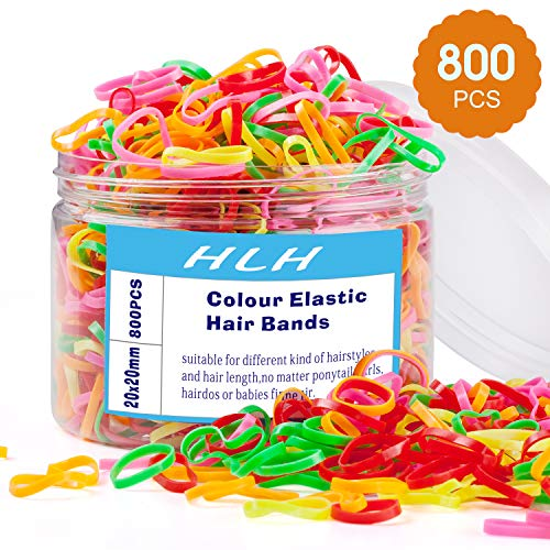 800 PCS Colorful Elastic Hair Ties for Kids Baby Girls Multi Color Hair Rubber Bands with Box for Ponytails Hairstyles Braiding