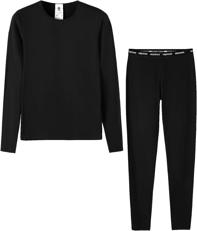 LAPASA Girls Thermal Underwear Long John Set Winter Base Layer Top and Bottom G03