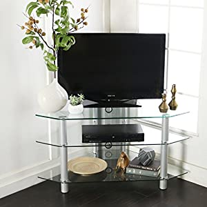 """Latitude Run Pinson 44"""" Corner TV Stand, Ample Storage Space for AV Components, Features Cable Management (Silver)"""