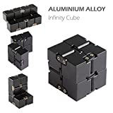 Infinity Metal Cube, Aluminium Stress Relief Fidget Cube for Adult & Kids,Fidget Toy For Working or Studying(Black)