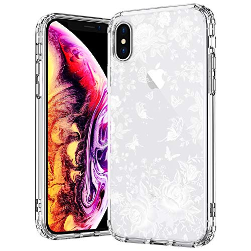 (MOSNOVO Case for iPhone Xs/iPhone X, White Roses Garden Floral Printed Flower Clear Design Plastic Back Hard Case with Soft TPU Bumper Protective Case Cover for iPhone X/iPhone Xs)