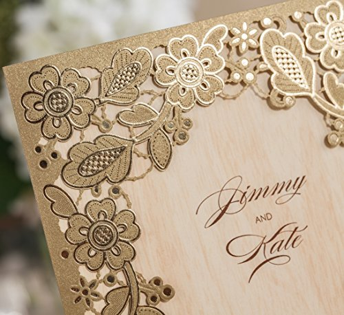 Wishmade 100X Printable Laser Cut Wedding Invitations Cards with Hollow Floral Card Stock For Engagement Birthday Party Baby Shower Bridal Shower Events CW5279 by Wishmade (Image #2)
