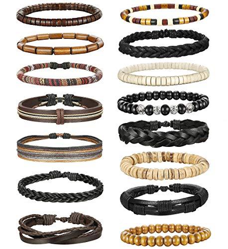(LOLIAS 24 Pcs Woven Leather Bracelet for Men Women Cool Leather Wrist Cuff Bracelets Adjustable (Style E3:15 Pcs))