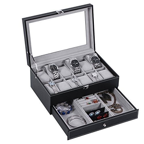 BEWISHOME Watch Box 12 Slots Watch Organizer With Jewelry Display Case Tray Black PU Leather w/ Glass Top for men women SSH02B