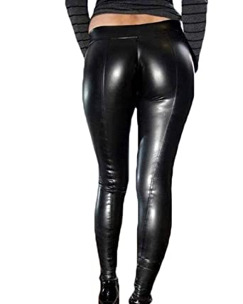 b64a285fcfbb4b MISOWN Womens Black Faux Leather Leggings Punk Pants Sexy High Waisted Club Motorcycle  Pants (S