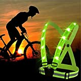 lighted vest for running - ShineU LED Reflective Safety Vest USB Charging Elastic Straps Adjustable Size Fit Women Men Kids Flashlight Warning For Outdoor Sport Running Cycling - Led Glowing Suspenders Reflective Running Gear