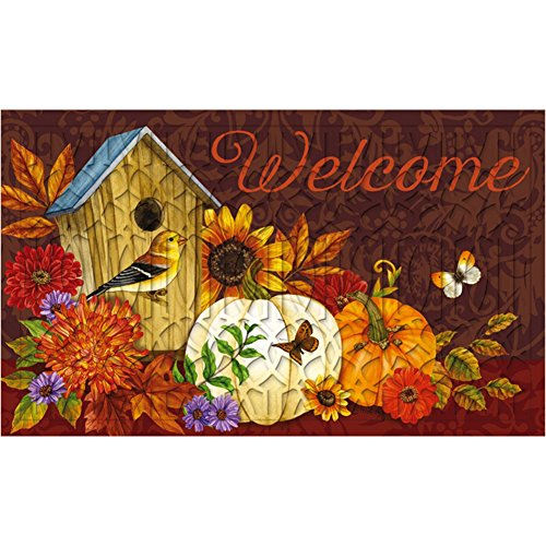 Evergreen Welcome Birdhouse Embossed Floor Mat, 18 x 30 inches