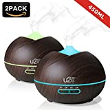 U2C Essential Oil Diffuser, 2-Pack【450ml】 Aroma Diffuser Wood Grain Aromatherapy Diffuser with 7 Color LED Lights, Waterless Auto Shut-off Humidifier for Home Office Yoga (Dark Wood)
