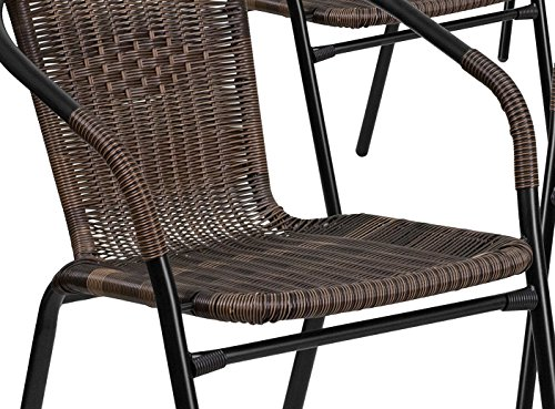 Flash Furniture 4 Pk Dark Brown Rattan Indoor Outdoor