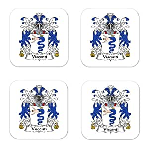 Visconti Family Crest Square Coasters Coat of Arms Coasters - Set of 4