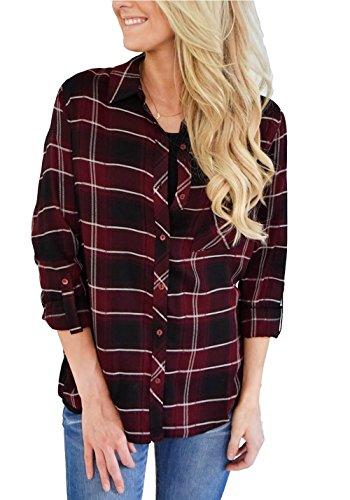 Burgundy Flannel (roswear Women's Casual Loose Cuffed Sleeve Plaid Button Down Shirt Burgundy Small)