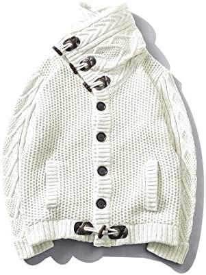 ホーンボタン ニットカーディガン メンズ 長袖 ショールカーディガン 大きいサイズ アウター 秋冬 セーター ケーブル編み