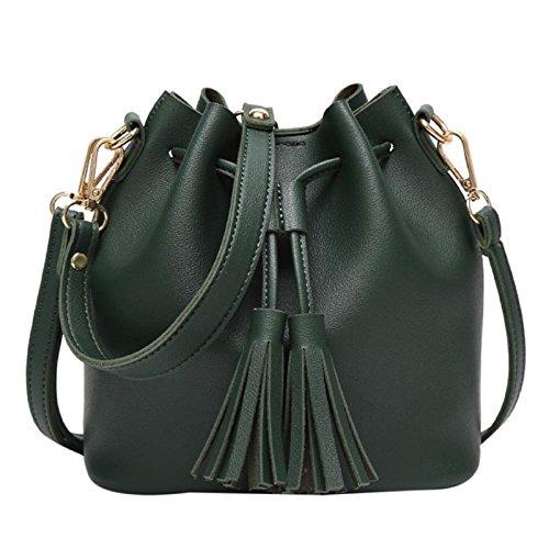 Owill Women Girls Fresh Soft Leather Handbag Shoulder Tassels Bucket Bag Interesting Life (A, Green)