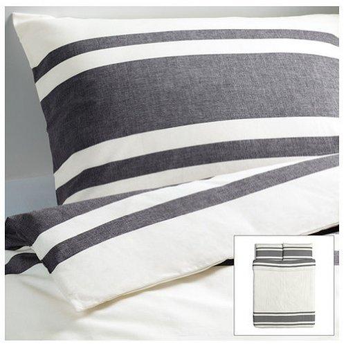 Ikea Bjornloka 3pc Full/Queen Duvet Cover Set, Black, White, 100 % Cotton (Dvala Sheet Set Queen)