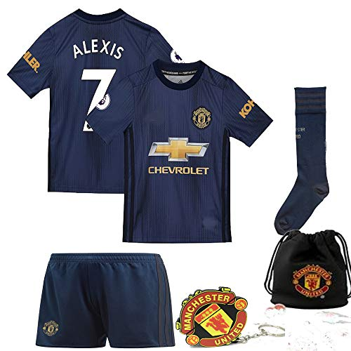 Manchester United Pogba Lukaku Alexis 2018 19 Kid Replica Jersey Kit : Shirt, Short, Socks, Bag, PVC Key (Please Check Sizing Measurements!!!) (A. Sanchez Navy, Size 24 (7-8 Yrs Old - Shorts Navy 7 Old