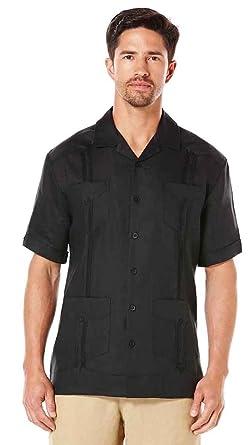 168e72a99a Cubavera Short Sleeve 100% Linen Plain Front Pleated Guayabera Shirt ...