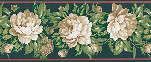 (Brewster 499B03078 Black Floral Border Wallpaper, Greens)