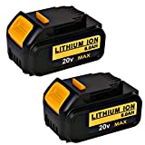 Weize 20V 6.0Ah Lithium Ion Dewalt DCB206-2 DCB204 DCB205 DCB205-2 DCB200 DCB203 DCB180 DCD985B DCD771C2 DCS355D1 DCD790B Premium Battery with Indicator Compatible with all Dewalt 20V Max Tools-2 PACK