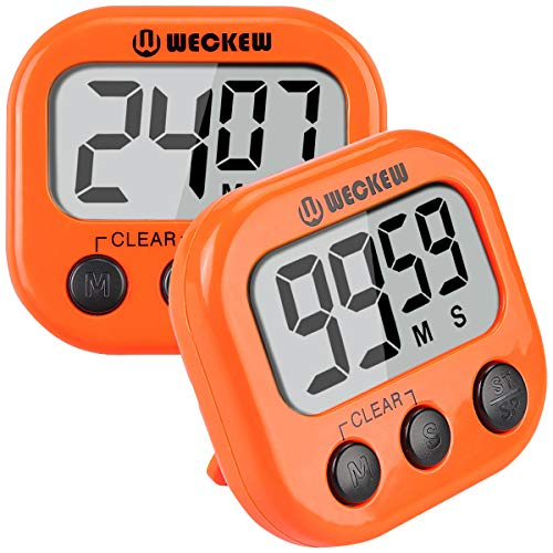 WECKEW Digital Kitchen Cooking, Large Display, Strong Magnet Back, Loud Alarm, Memory Recall Function, Count up Countdown Timer for Kids Baking Exercise Game (2 Pack, Orange),
