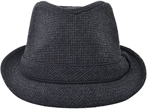 Simplicity Short Brim Teardrop Crown Wool Blend Fedora Hat Derby Hats, Grey