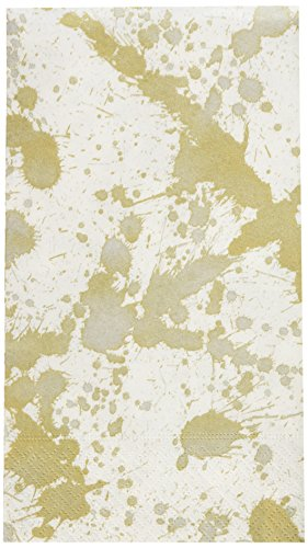 Entertaining with Caspari Splatterware Paper Guest Towels (15 Pack), (Gold Stemware Collection)