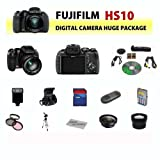 Fujifim HS10 10MP Digital Point and Shoot Camera (Black) + Huge Value 8GB, Deluxe Carrying Case, Flash, Lens and Tripod Complete Accessories Package, Best Gadgets