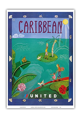Caribbean   United Air Lines   Vintage Airline Travel Poster By Melisande Potter C 2004   Master Art Print   13In X 19In