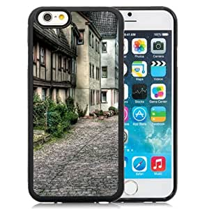 Fashionable Custom Designed iPhone 6 4.7 Inch TPU Phone Case With Old City Street Architecture_Black Phone Case
