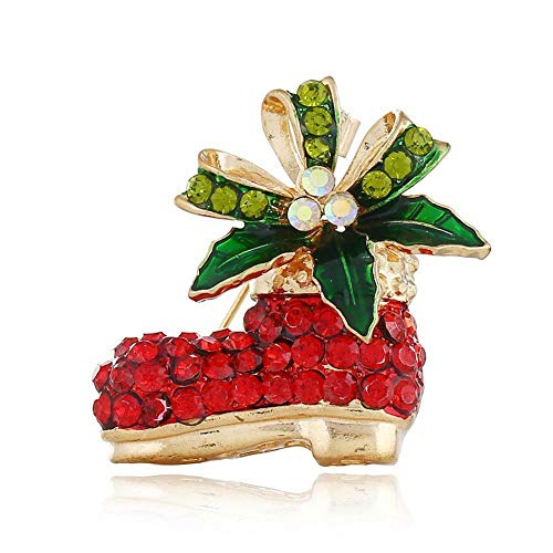 Christmas Deer Bell Santa Hat Snow Enamel Brooch Pin Xmas Party Jewelry Brooches (Main Colour - Boot)
