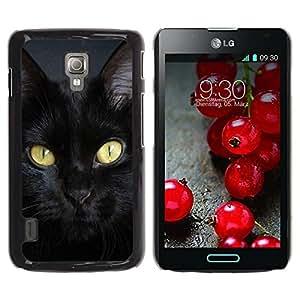 PC/Aluminum Funda Carcasa protectora para LG Optimus L7 II P710 / L7X P714 Bombay Cat Breed Chartreux Black / JUSTGO PHONE PROTECTOR
