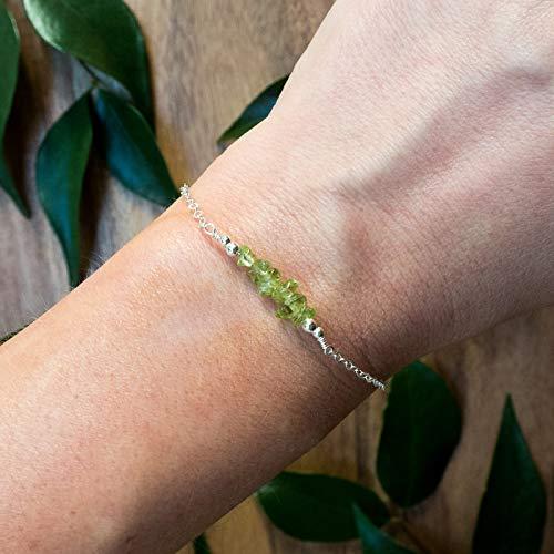- Peridot bead bar crystal bracelet in 925 sterling silver - 6