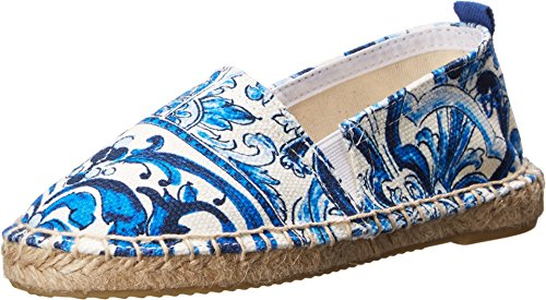 Dolce & Gabbana Kids Girl's Mediterranean Espadrille (Little Kid) White/Blue Print 29 (US 12 Little Kid) M by Dolce & Gabbana