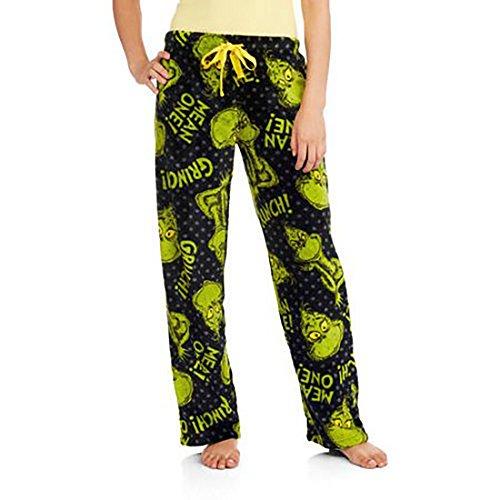 Dr. Suess Grinch License Pajama Super Minky Plush Fleece Sleep Pant (Small 4/6) (Grinch Hat)