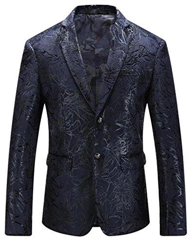 Velveteen Jacket Blazer - EMAOR Mens Slim Fit 2 Button Floral Velveteen Suit Blazer Sport Coat Jacket