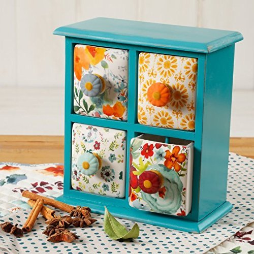 The Pioneer Woman Flea Market 4-Drawer Distress Spice/Tea Box, Multiple Colors THE PIONEER WOMANs 118561.01R