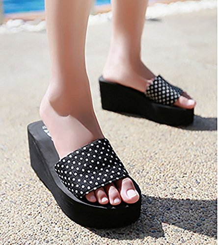 Black Slide Beach 1 Casual Heel Slippers Summer Sandals Platform Womens Sfnld Wedge FxTvqfpnw