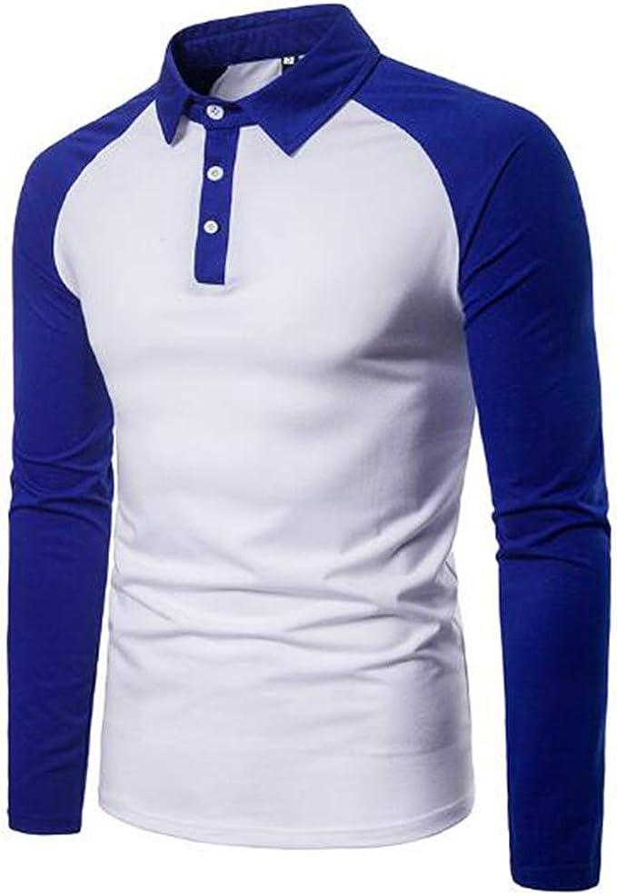 MU CHAOHAI Hombre Hit Color Polo Camisas Patchwork Manga Larga ...