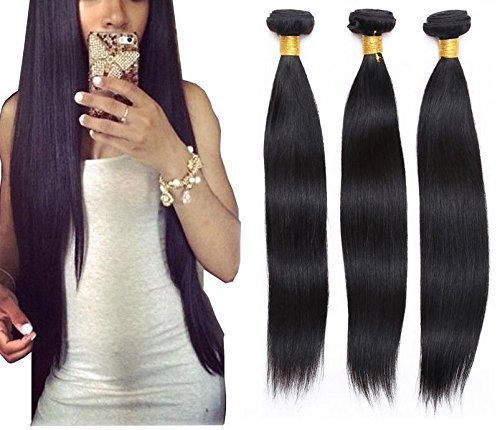 Goood Hair Unprocessed Super Brazilian Virgin Hair Straight 4 Pcs/lot Goood Hair Products Virgin Brazilian Hair Weave Bundles 50g/ps 4pcs/ Lot Total 200g (20 22 24 24) (Brazilian Bundle)