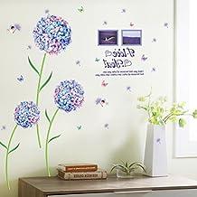 Blue Dream Flower Flower Ball Romantic Wall Decoration Sticker PVC Removable Wall Sticker Applique