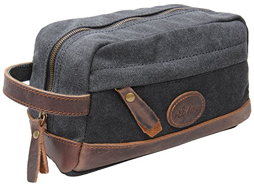 Iblue Canvas Leather Travel Kit Toiletry Bag Shaving Dopp