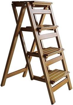 WCS Silla de escalera de doble uso de madera maciza americana Escalera de espiga Silla plegable Inicio Taburete multifunción Escalera de escalada de cuatro capas 41 × 87 × 92 cm: Amazon.es: Bricolaje y herramientas