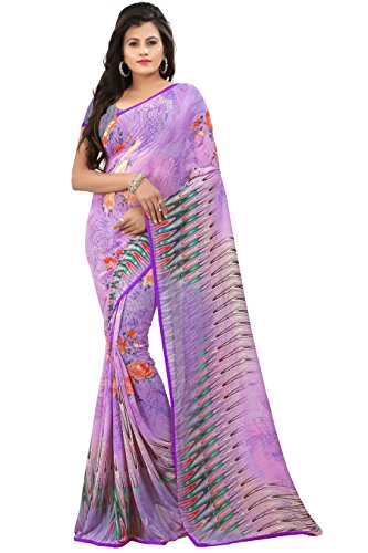 Women's Faux Georgette Floral Print Saree Purple 6.30 m With Blouse Piece by Kalaa Varsha (Print Saree)