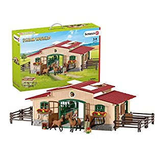 Schleich Farm World Stable with Horses and Accessories 48-piece Educational Playset for Kids Ages 3-8