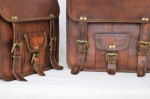 Handmade Bag Wala Saddle Bags Motorcycle Two Side Pouch Brown Leather Pouch Saddle Panniers (2 Bags) by Handmade Bag Wala (Image #4)