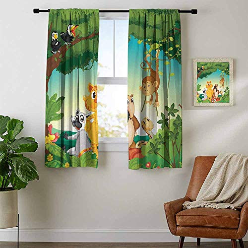 - youpinnong Zoo, Black Out Window Curtain Short, Forest Scene with Different Animals Habitat Jungle Tropical Environment Kids Cartoon, Curtains Kids Bedroom, W72 x L72 Inch Multicolor