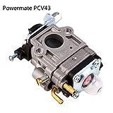Carburetor Carb & Gasket for Gas 2 Cycle 43cc Powermate PCV43 Tiller Motor Parts (silver)