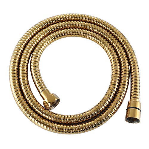 Shower Head Hose 59-Inch, APLusee Stainless Steel Replaced Flexible Shower Head Adapter with Swivel Free Brass Connector, Anti-Kink Detachable Shower Wand Hose 4.9ft, Gold
