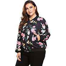 IN'VOLAND Womens Plus Size Short Bomber Jacket Full Zip Up Floral Print Baseball Short Jacket Quilted Jacket Coat
